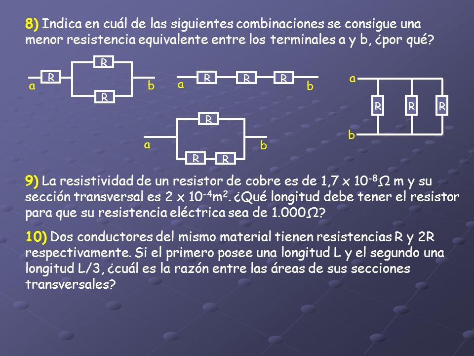 8) Indica en cuál de las siguientes combinaciones se consigue una menor resistencia equivalente entre los terminales a y b, ¿por qué