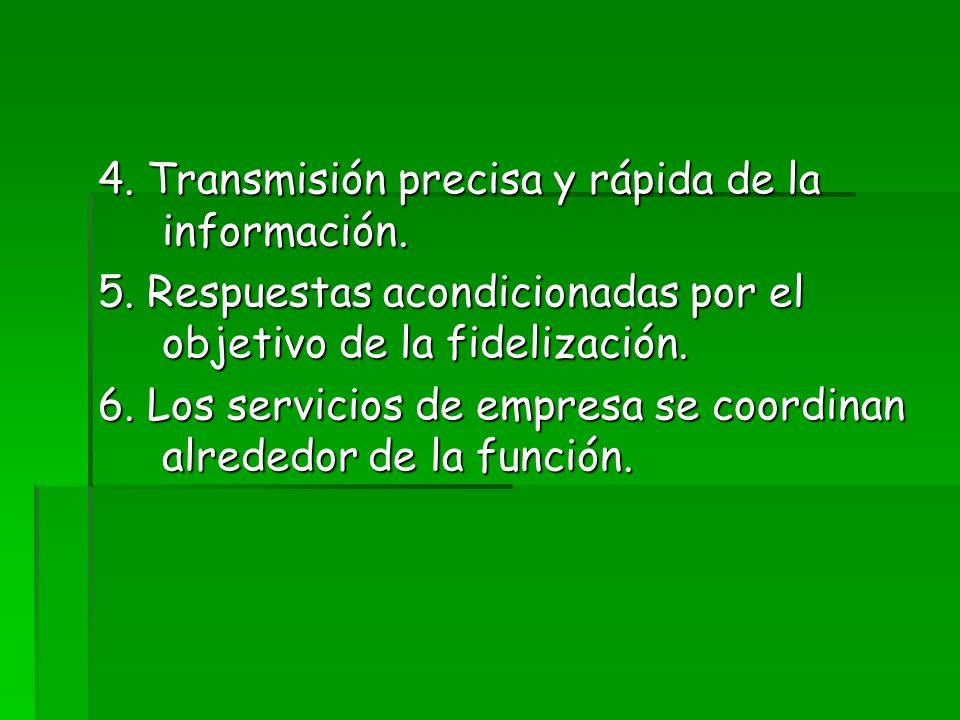 4. Transmisión precisa y rápida de la información.