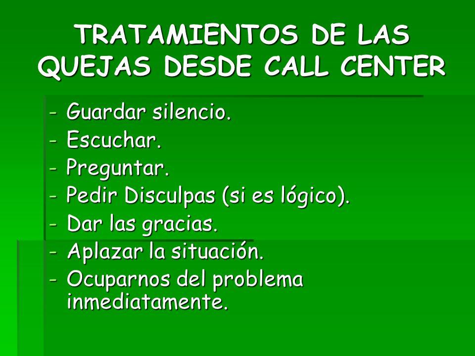 TRATAMIENTOS DE LAS QUEJAS DESDE CALL CENTER