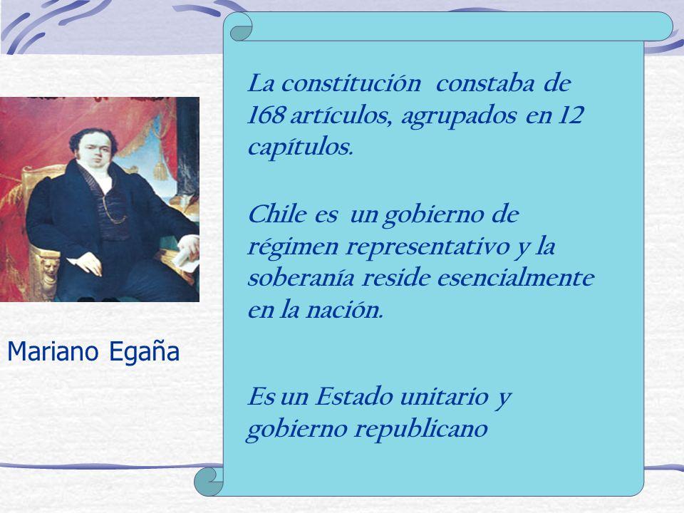 La constitución constaba de 168 artículos, agrupados en 12 capítulos.