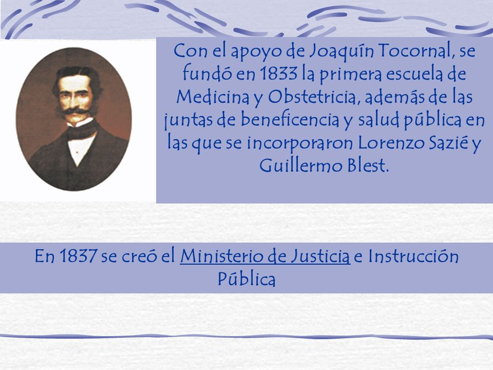 En 1837 se creó el Ministerio de Justicia e Instrucción Pública