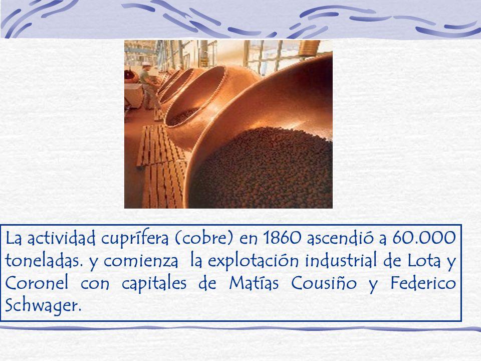 La actividad cuprífera (cobre) en 1860 ascendió a 60. 000 toneladas