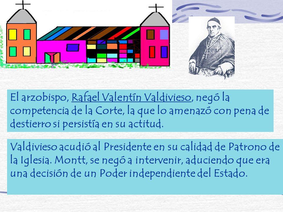 El arzobispo, Rafael Valentín Valdivieso, negó la competencia de la Corte, la que lo amenazó con pena de destierro si persistía en su actitud.