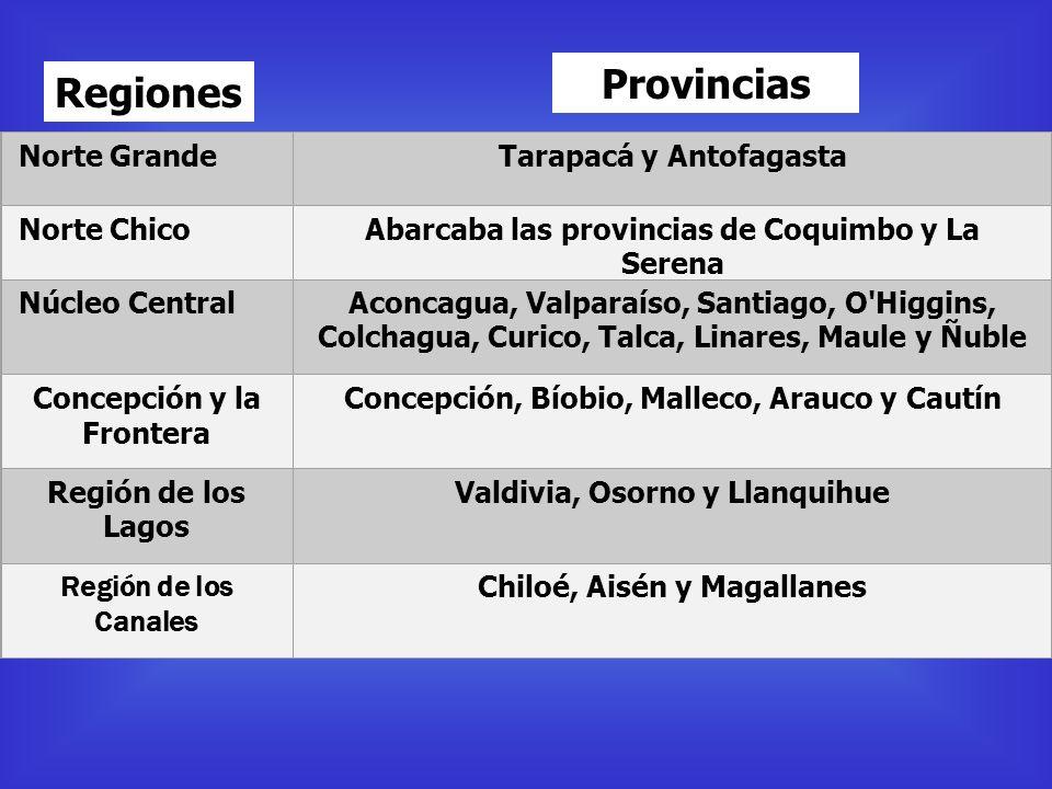 Provincias Regiones Norte Grande Tarapacá y Antofagasta Norte Chico