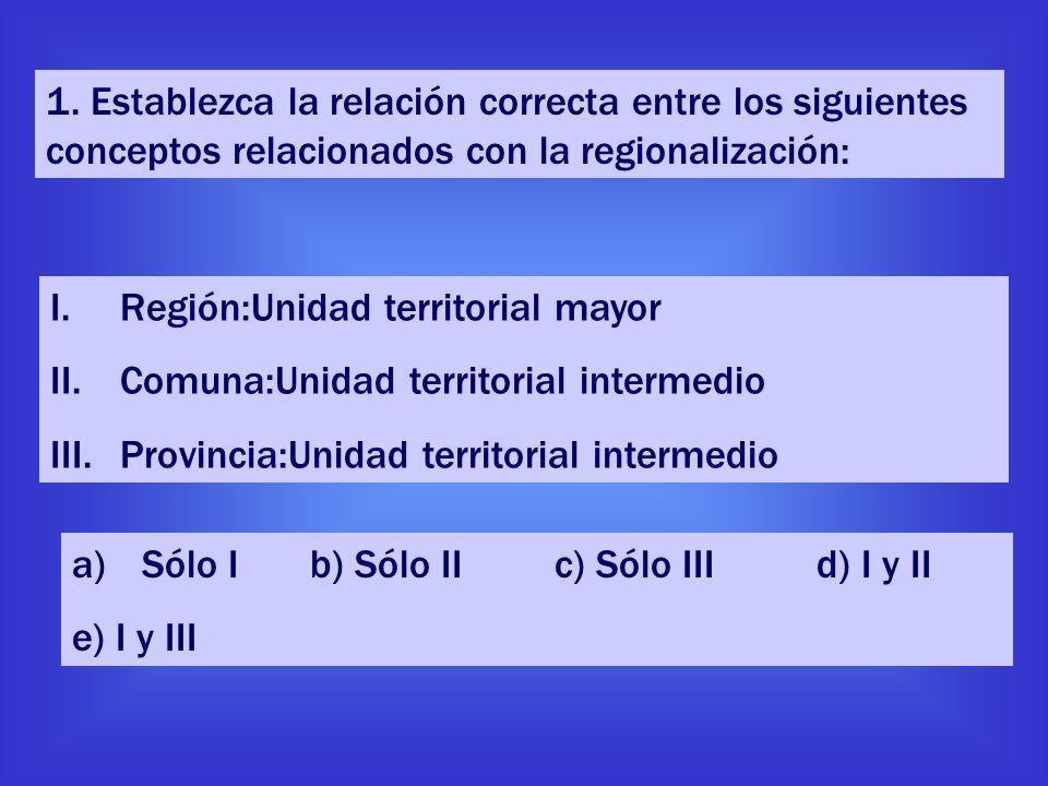 1. Establezca la relación correcta entre los siguientes conceptos relacionados con la regionalización: