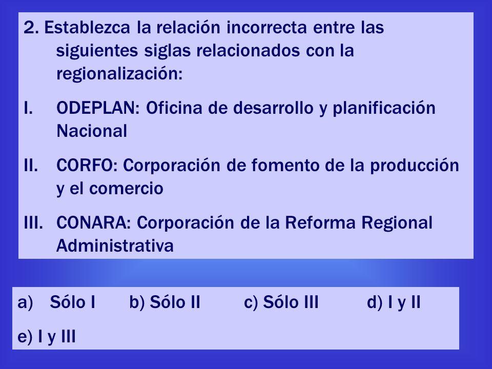 2. Establezca la relación incorrecta entre las siguientes siglas relacionados con la regionalización: