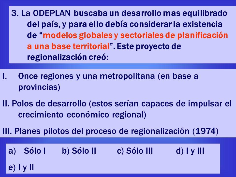 3. La ODEPLAN buscaba un desarrollo mas equilibrado del país, y para ello debía considerar la existencia de modelos globales y sectoriales de planificación a una base territorial . Este proyecto de regionalización creó: