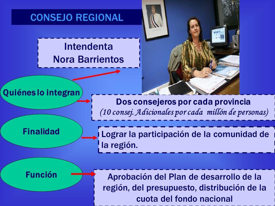 CONSEJO REGIONAL Intendenta Nora Barrientos Quiénes lo integran