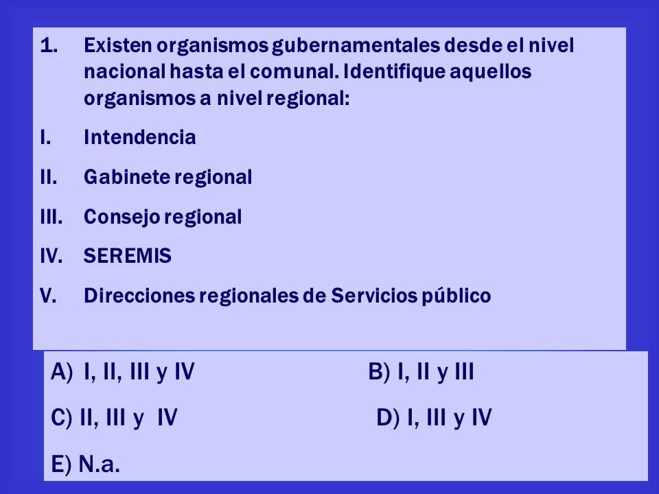 I, II, III y IV B) I, II y III C) II, III y IV D) I, III y IV E) N.a.