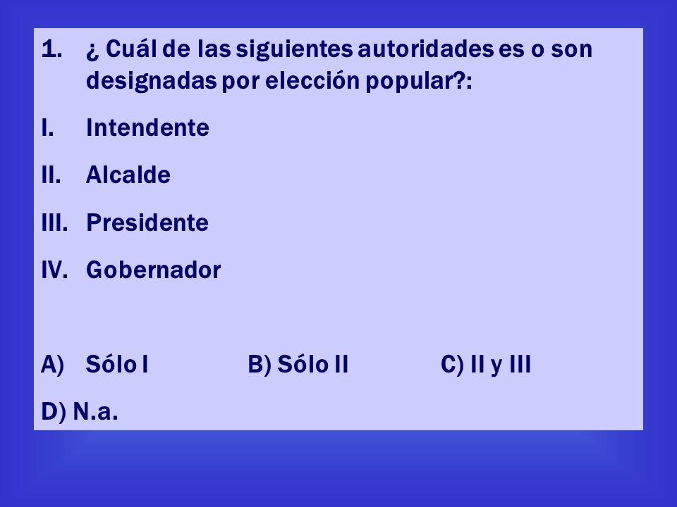 ¿ Cuál de las siguientes autoridades es o son designadas por elección popular :