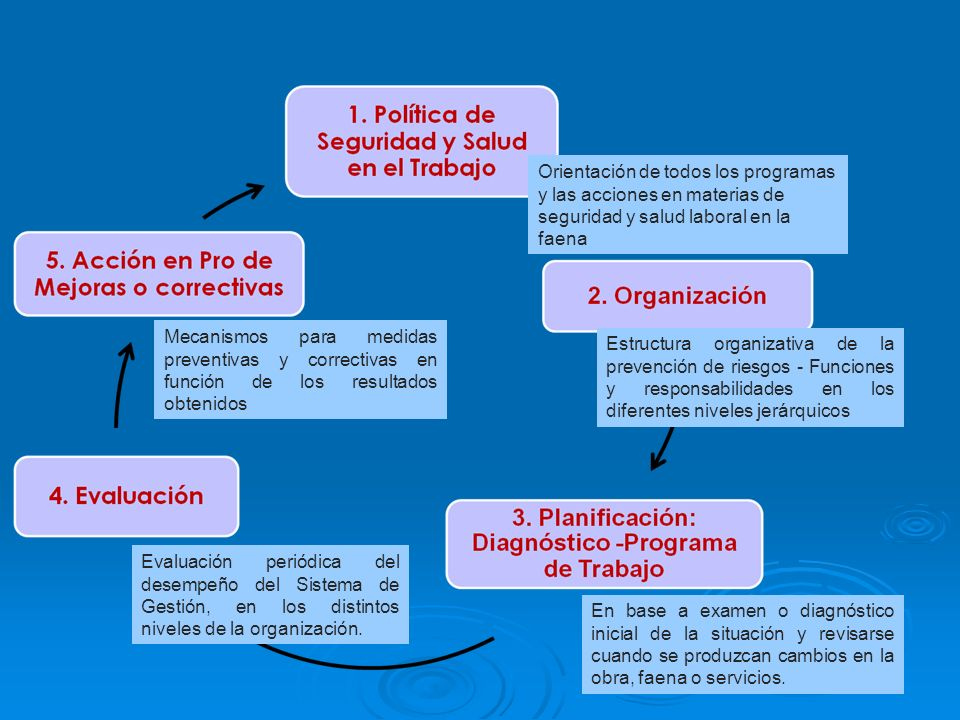 Orientación de todos los programas y las acciones en materias de seguridad y salud laboral en la faena
