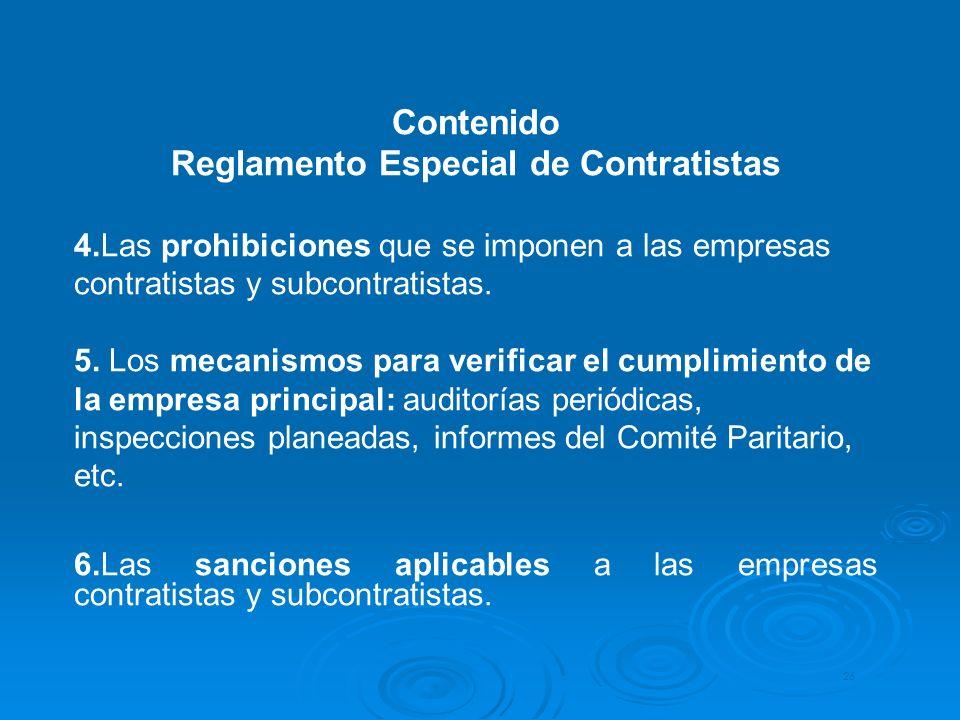 Reglamento Especial de Contratistas
