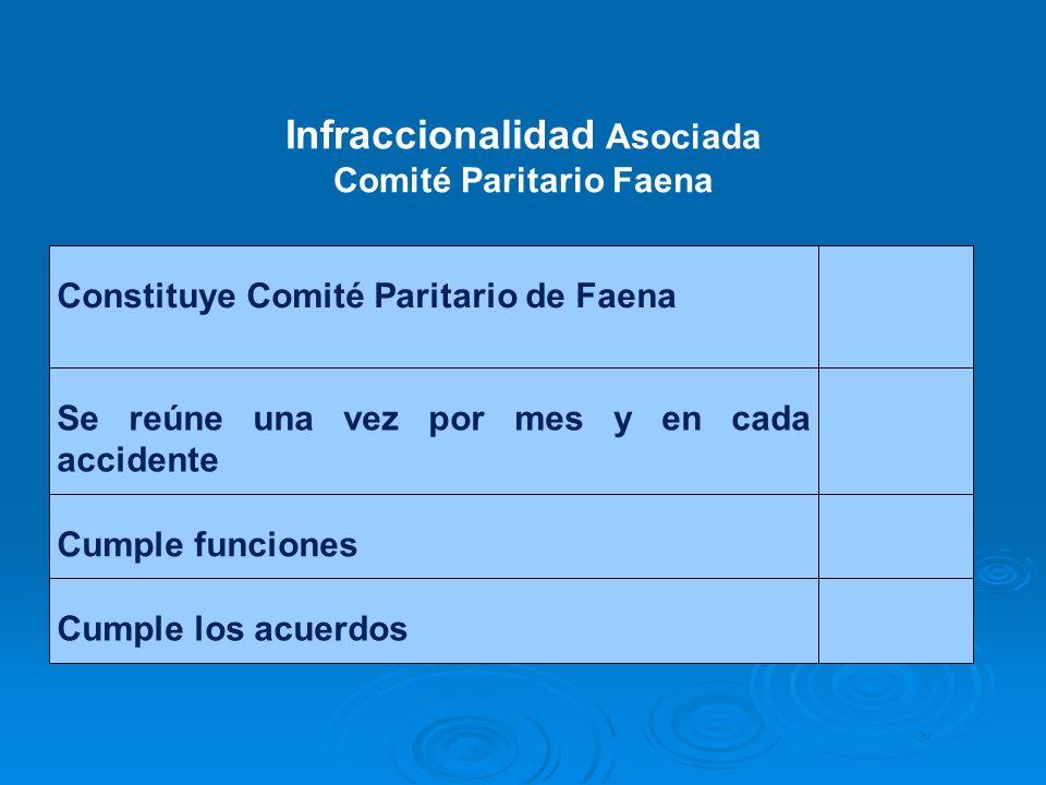 Infraccionalidad Asociada Comité Paritario Faena