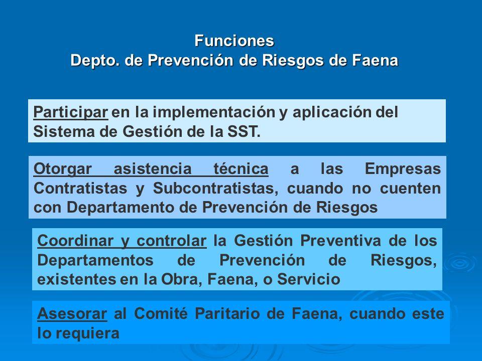 Funciones Depto. de Prevención de Riesgos de Faena
