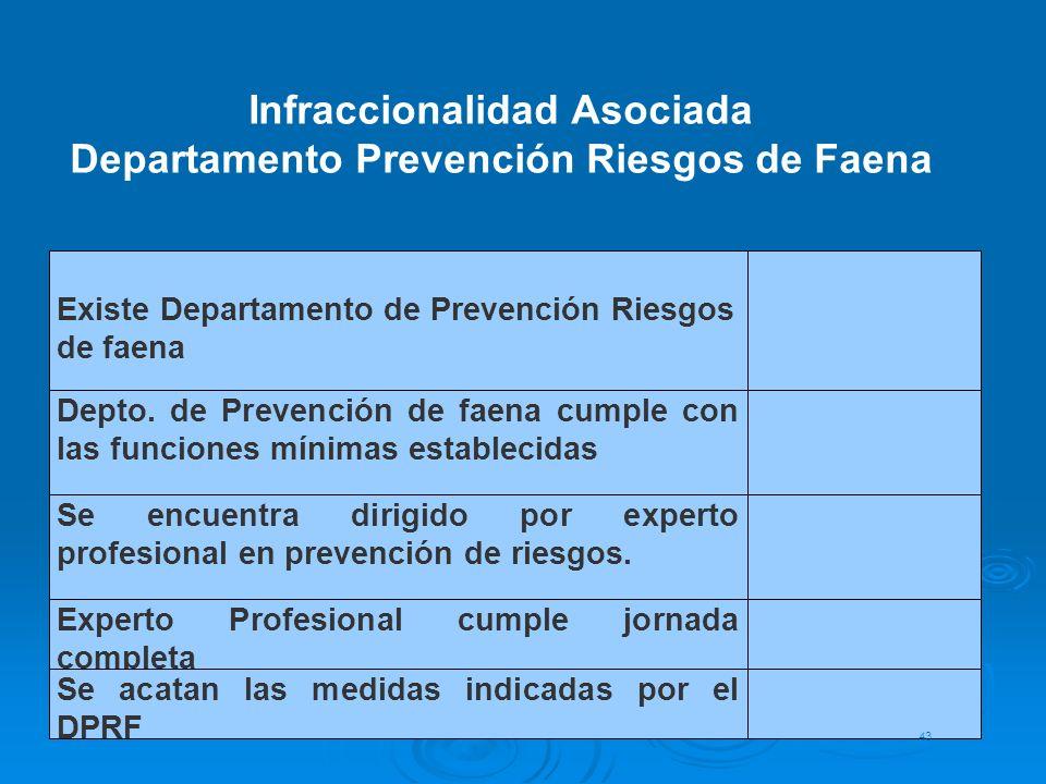 Infraccionalidad Asociada Departamento Prevención Riesgos de Faena