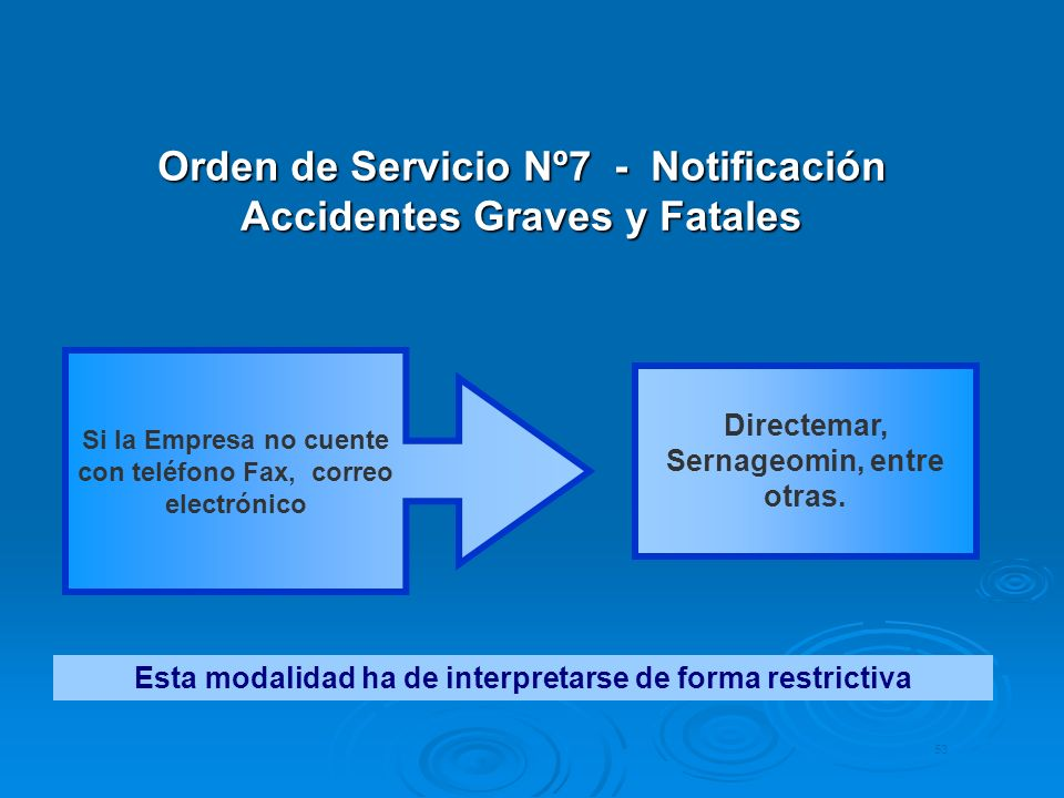 Orden de Servicio Nº7 - Notificación Accidentes Graves y Fatales