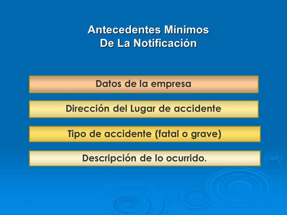 Antecedentes Mínimos De La Notificación