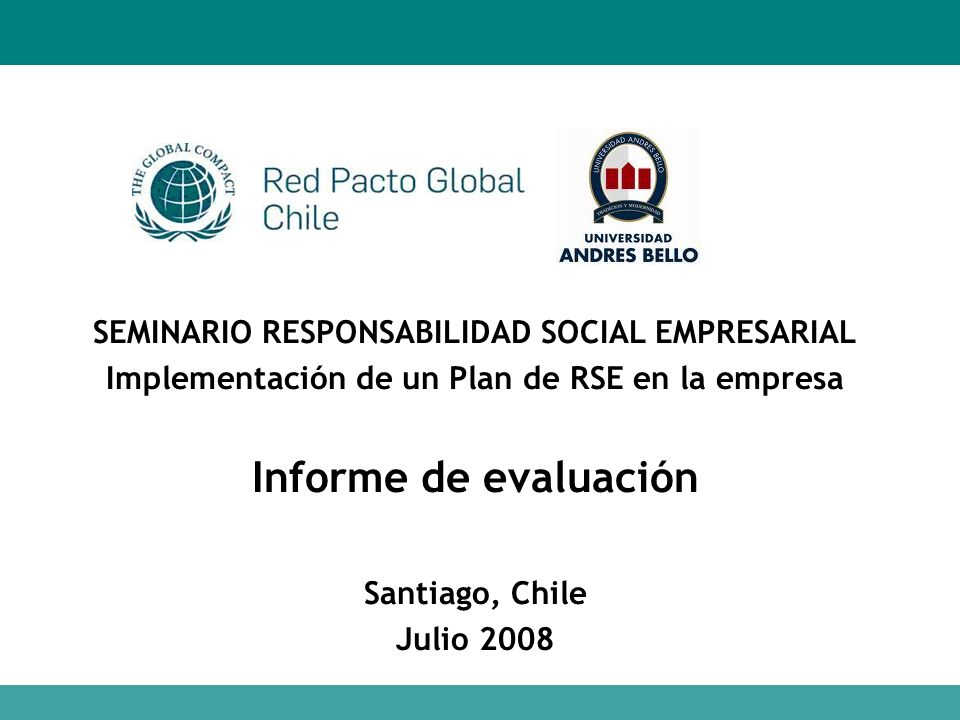 Informe de evaluación SEMINARIO RESPONSABILIDAD SOCIAL EMPRESARIAL
