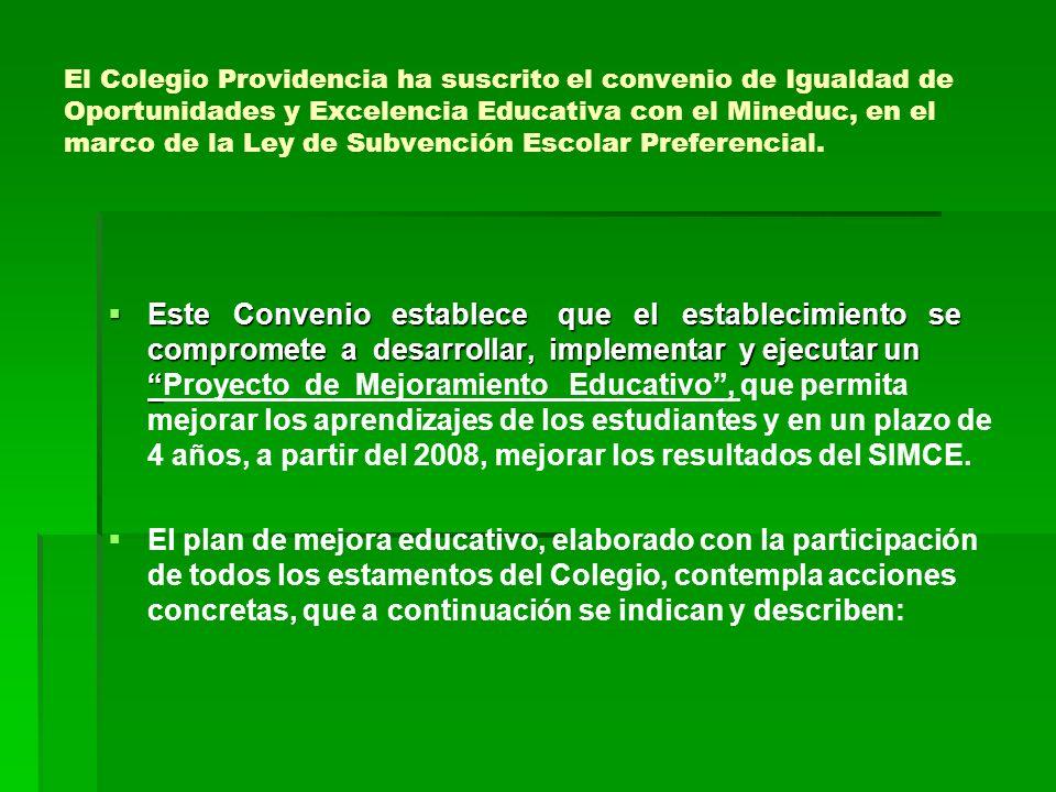 El Colegio Providencia ha suscrito el convenio de Igualdad de Oportunidades y Excelencia Educativa con el Mineduc, en el marco de la Ley de Subvención Escolar Preferencial.