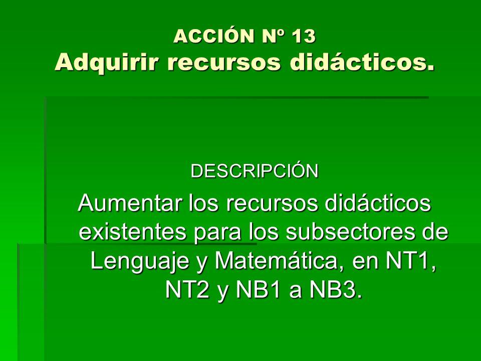 ACCIÓN Nº 13 Adquirir recursos didácticos.