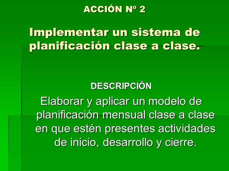 ACCIÓN Nº 2 Implementar un sistema de planificación clase a clase.