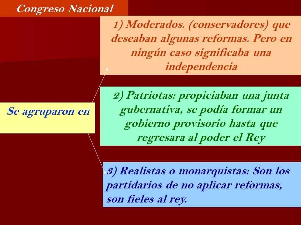 Congreso Nacional 1) Moderados. (conservadores) que deseaban algunas reformas. Pero en ningún caso significaba una independencia.