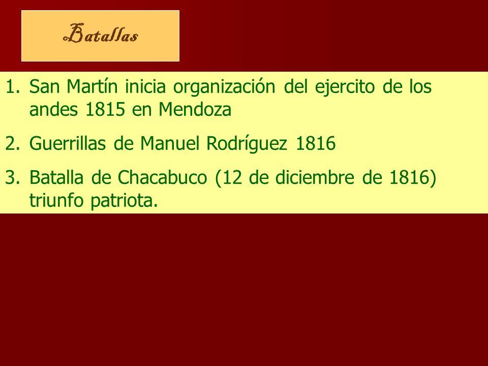 Batallas San Martín inicia organización del ejercito de los andes 1815 en Mendoza. Guerrillas de Manuel Rodríguez 1816.