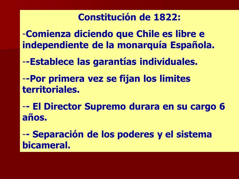 Constitución de 1822: Comienza diciendo que Chile es libre e independiente de la monarquía Española.