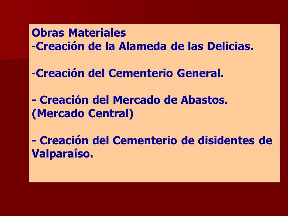 Obras Materiales Creación de la Alameda de las Delicias. Creación del Cementerio General. - Creación del Mercado de Abastos. (Mercado Central)