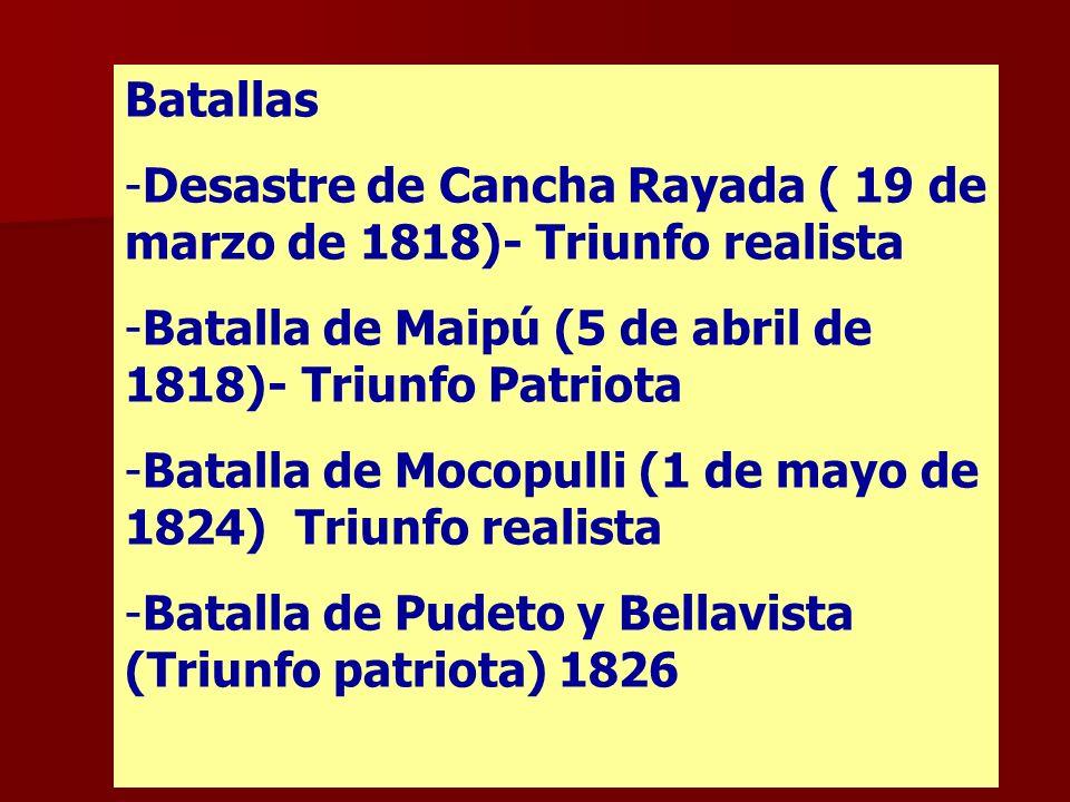 Batallas Desastre de Cancha Rayada ( 19 de marzo de 1818)- Triunfo realista. Batalla de Maipú (5 de abril de 1818)- Triunfo Patriota.