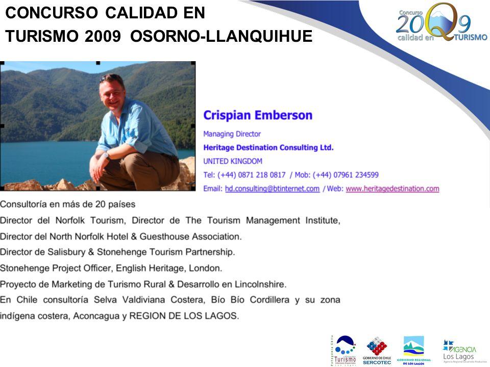 CONCURSO CALIDAD EN TURISMO 2009 OSORNO-LLANQUIHUE