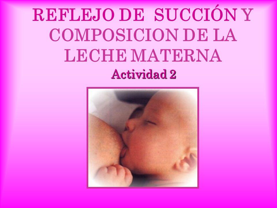 REFLEJO DE SUCCIÓN Y COMPOSICION DE LA LECHE MATERNA