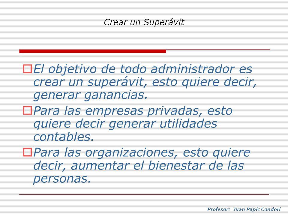 Crear un Superávit El objetivo de todo administrador es crear un superávit, esto quiere decir, generar ganancias.