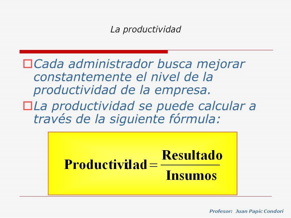 La productividad se puede calcular a través de la siguiente fórmula: