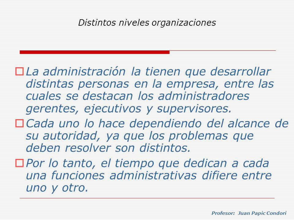 Distintos niveles organizaciones