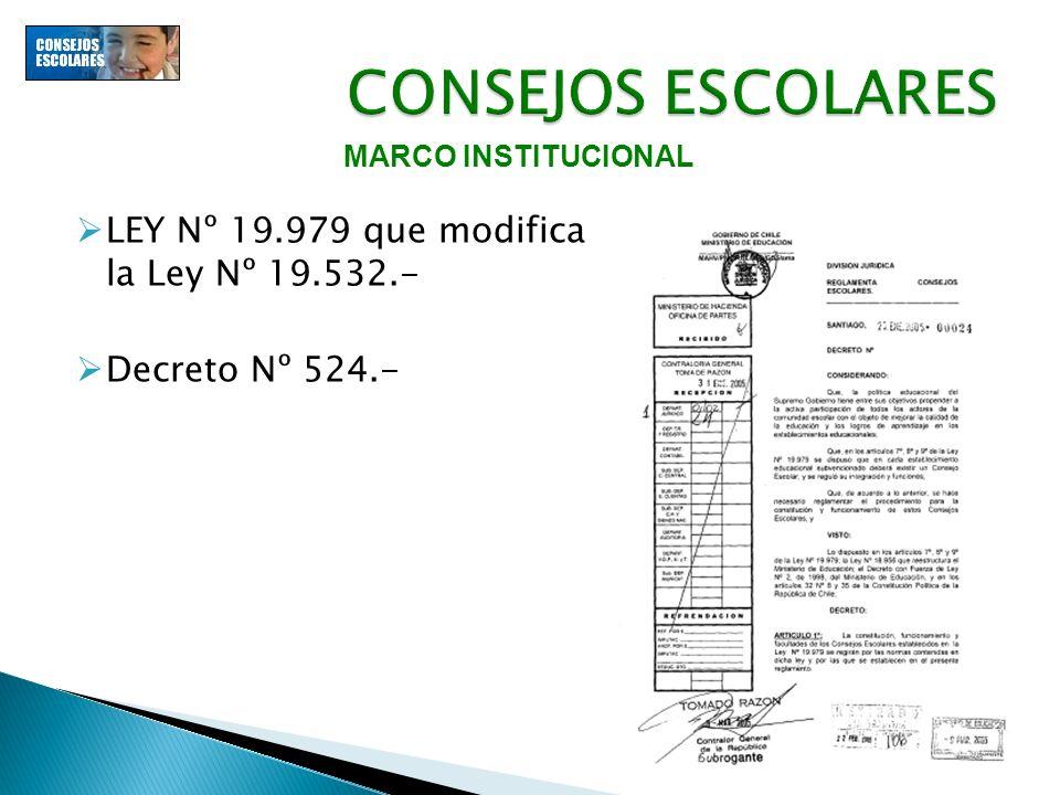 CONSEJOS ESCOLARES LEY Nº 19.979 que modifica la Ley Nº 19.532.-