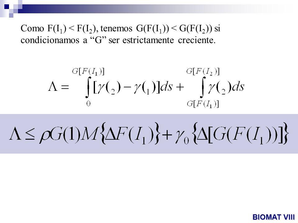 Como F(I1) < F(I2), tenemos G(F(I1)) < G(F(I2)) si condicionamos a G ser estrictamente creciente.