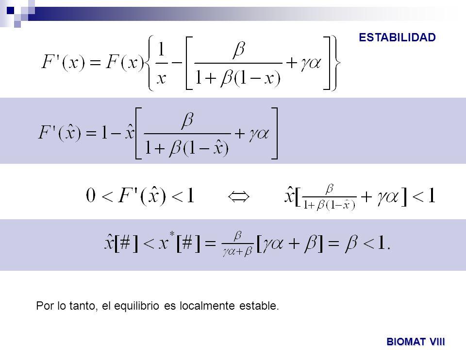 Por lo tanto, el equilibrio es localmente estable.