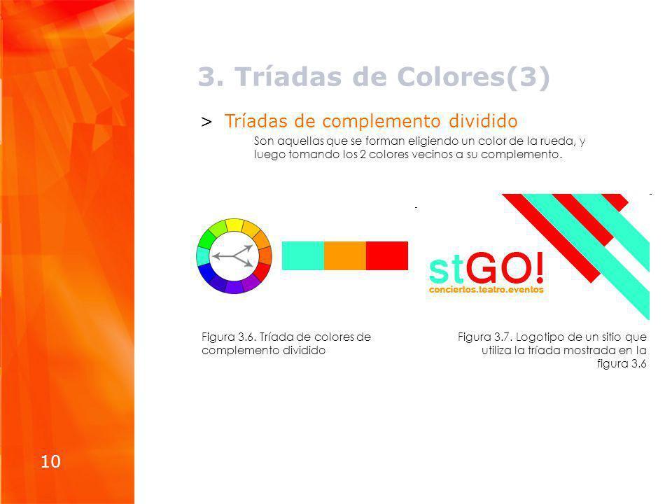 3. Tríadas de Colores(3) Tríadas de complemento dividido 10