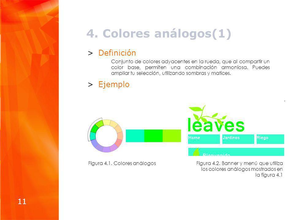 4. Colores análogos(1) Definición Ejemplo 11
