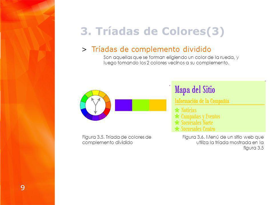 3. Tríadas de Colores(3) Tríadas de complemento dividido 9