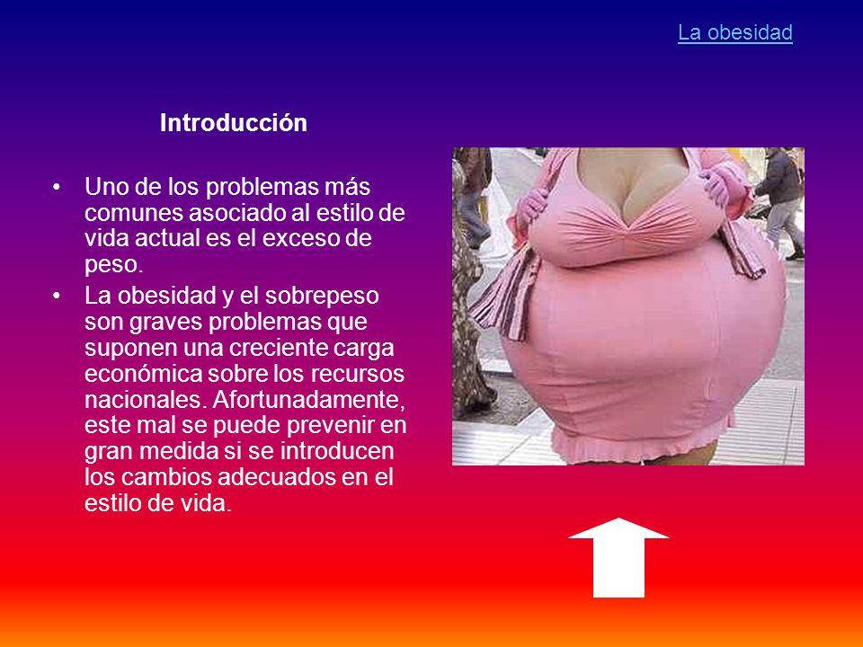 La obesidad Introducción. Uno de los problemas más comunes asociado al estilo de vida actual es el exceso de peso.
