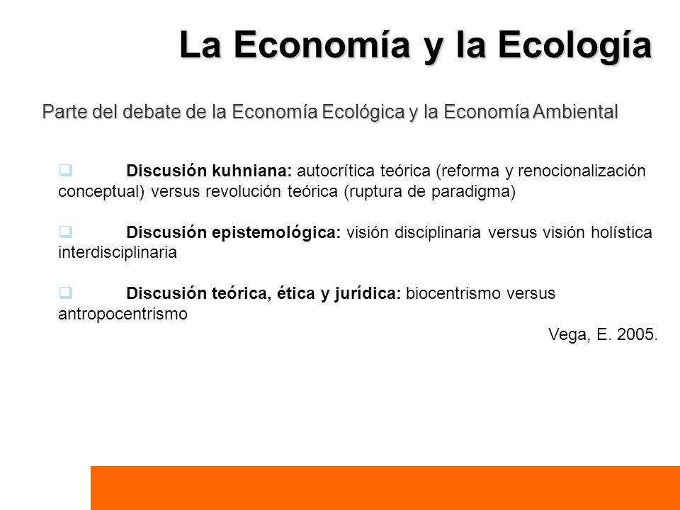 Parte del debate de la Economía Ecológica y la Economía Ambiental