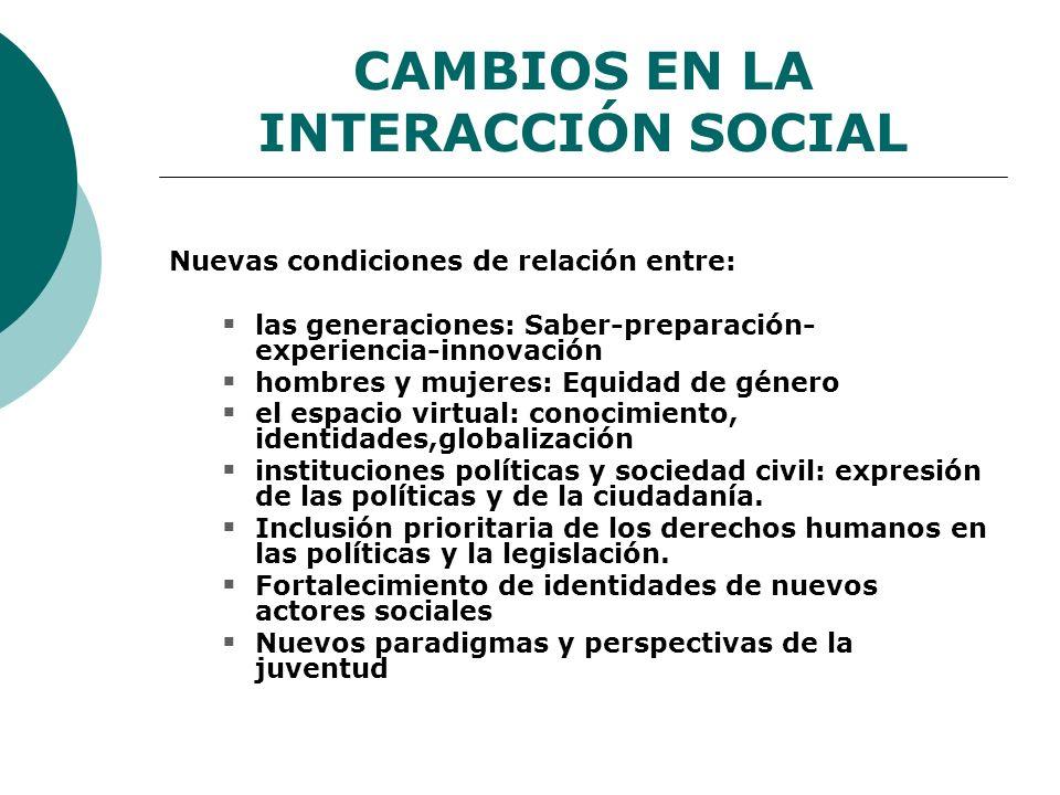 CAMBIOS EN LA INTERACCIÓN SOCIAL