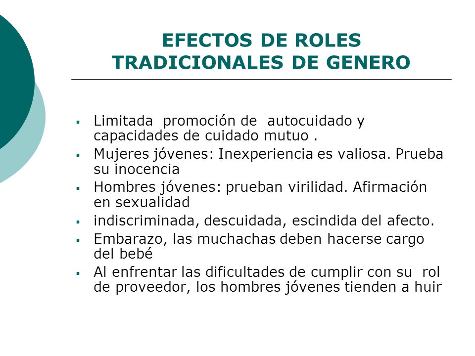 EFECTOS DE ROLES TRADICIONALES DE GENERO