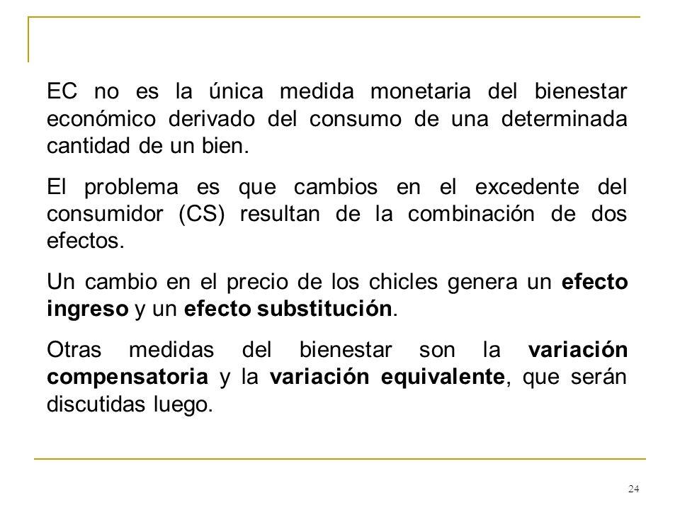 EC no es la única medida monetaria del bienestar económico derivado del consumo de una determinada cantidad de un bien.