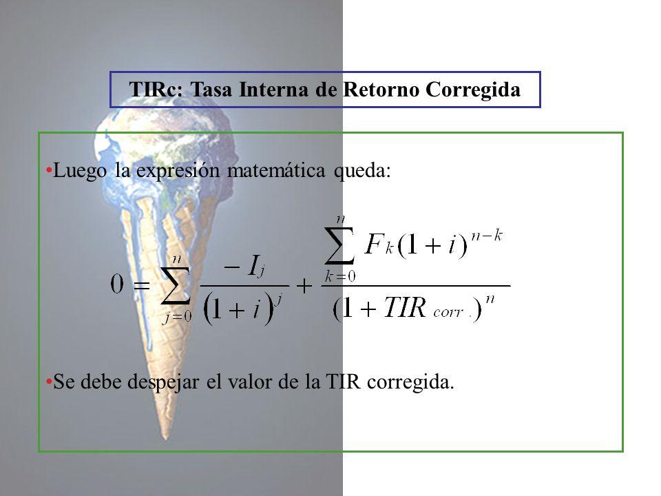 TIRc: Tasa Interna de Retorno Corregida