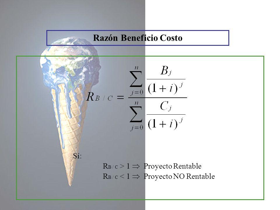 Razón Beneficio Costo Sí: RB / C > 1  Proyecto Rentable