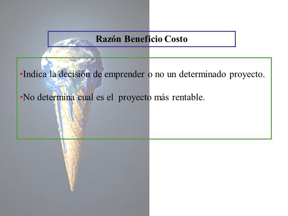 Razón Beneficio Costo Indica la decisión de emprender o no un determinado proyecto.