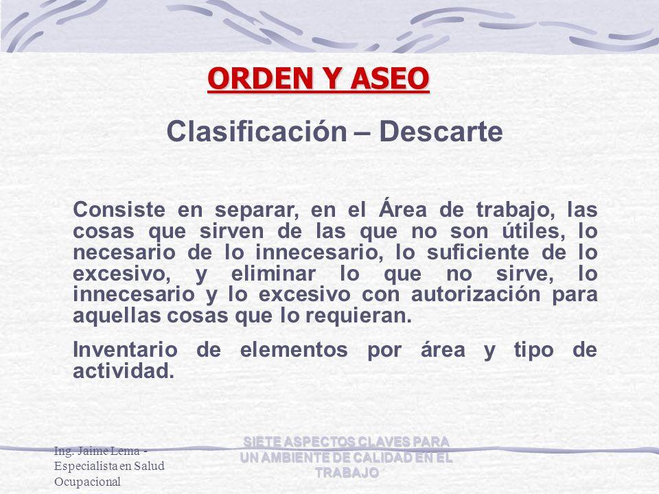 Clasificación – Descarte